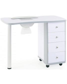 Mesa de manicura de madera con aspiración.