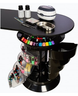 mesa de manicura negra con cajones