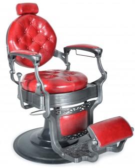 Sillón Salon Barber cromo Rojo