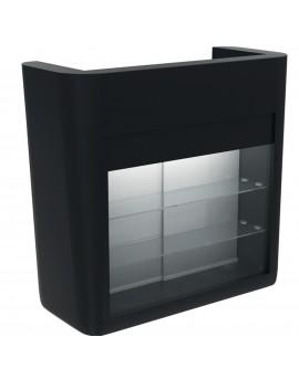 recepción negra con vitrina