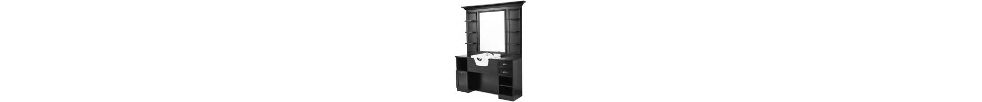 Muebles auxiliares de barbería con poza lavacabezas - Tocadores espejo para Barbería en madera noble