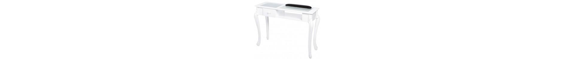 Mesas de manicura con aspiración y encimera de cristal, diseño moderno y vanguardista